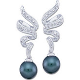 Black Cultured Pearl and Diamond Earring