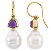 South Sea Cultured Circle Pearl & Genuine Amethyst Earrings