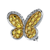 Genuine Yellow Sapphire & Diamond Butterfly Brooch