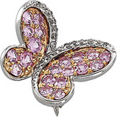 Genuine Pink Sapphire & Diamond Butterfly Brooch