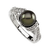 Freshwater Cultured Black Pearl & Diamond Ring