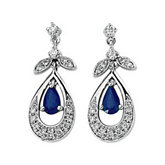 Genuine Blue Sapphire & Diamond Earrings