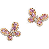 Genuine Pink Sapphire & Diamond Butterfly Earrings