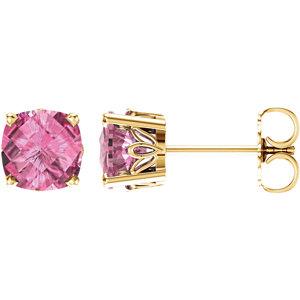 14K Yellow Pink Topaz Earrings