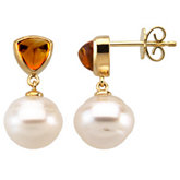 Pearl Post & Trillion Bezel Cabochon Earring