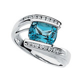 Genuine Swiss Blue Topaz and Diamond Ring