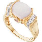 Horizontal Opal, Pink Tourmaline & Diamond Accented Ring