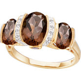 Genuine Smoky Quartz & Diamond Ring