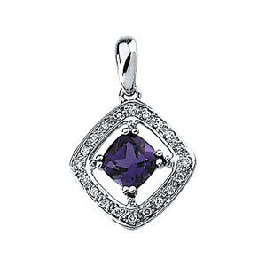 Amethyst & Diamond Pendant or Semi-Mount