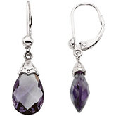 Genuine Amethyst Briolette Earrings