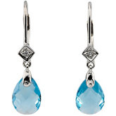 Genuine Swiss Blue Topaz and Diamond Earring