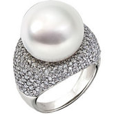 Diamond Semi-mount Ring for South Sea Cultured Pearls