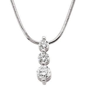 "14K White 1 CTW Diamond 3 Stone 18"" Necklace"