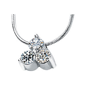 3-Stone Created Moissanite Pendant Slide Necklace