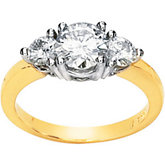 Created Moissanite Two Tone 3 Stone Engagement Rin