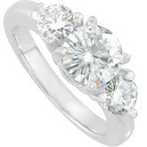 Created Moissanite 3 Stone Engagement Ring