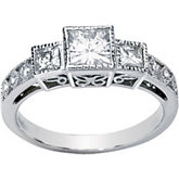 Created Moissanite and Diamond 3 Stone Anniversary