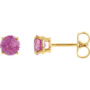 14kt Yellow 5mm Round<br> Pink Sapphire Earrings