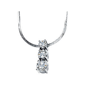 Created Moissanite 3 Stone Pendant Slide Necklace