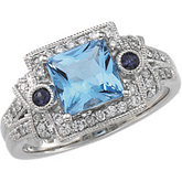 Genuine Swiss Blue Topaz, Genuine Iolite & Diamond Ring