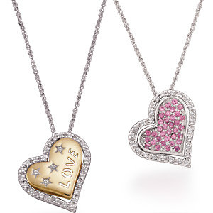 Two-Tone Pink Sapphire & Diamond Heart Necklace