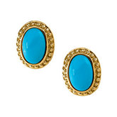 Genuine Turquoise Cabochon Earrings
