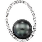 Tahitian Pearl and Diamond Oval Pendant