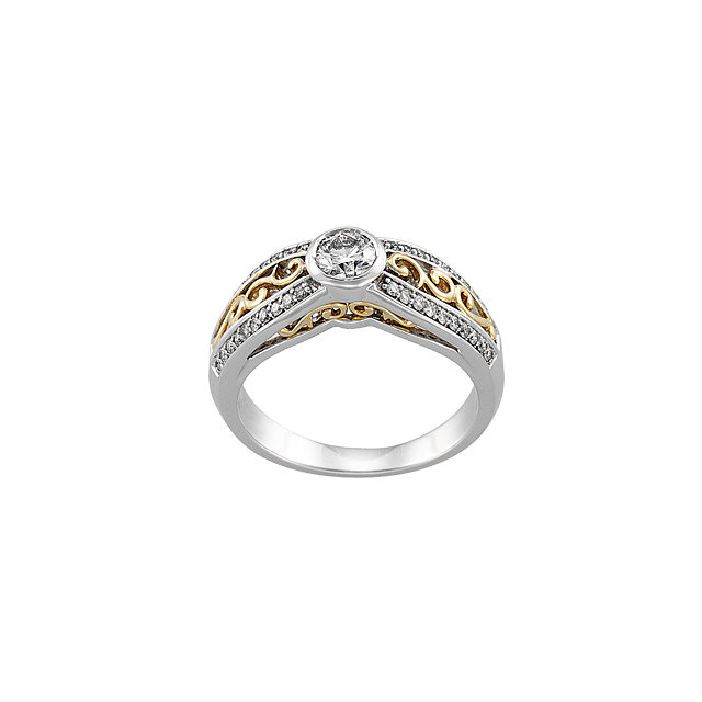 Bezel Set Accented Engagement Ring