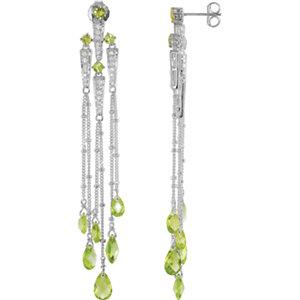 Sterling Silver Peridot &<br> Aubic Zirconia Earrings