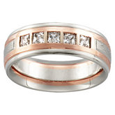 1/2 ct tw 14K White & Rose Gold Diamond Band