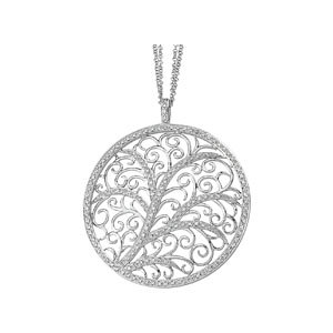 Circle Filigree Diamond Necklace