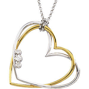 Two-Tone Diamond Double Heart Necklace