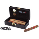6 Cigar Black Leather Travel Humidor