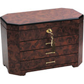 Rustic Burl Jewelry Chest with Angled Corners