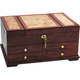 Bubinga Veneers with Mapa Burl Inlay Jewelry Chest