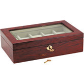 High Gloss Cordovan Grain Finish 10 Watch Case with Windowed Lid