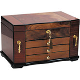 Bubinga Jewelry Chest with Elm Burl Inlay