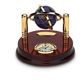 Lapis Globe on Brass Stand with Clock