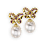 South Sea Cultured Pearl & Pink Sapphire Earrings