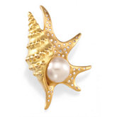 South Sea Cultured Pearl Pelican's Foot brooch