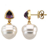 Pearl Post &Trillion Cabochon Earring Setting