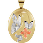 Oval Butterfly and Flowers Locket
