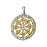 1/2 ct tw Natural Yellow & White Diamonds Circle Pendant