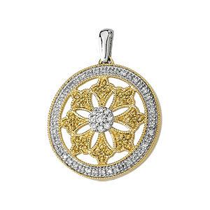 Natural Yellow & White Diamonds Circle Pendant
