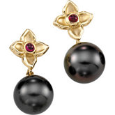Tahitian Cultured Pearl & Genuine Ruby Flower Earrings