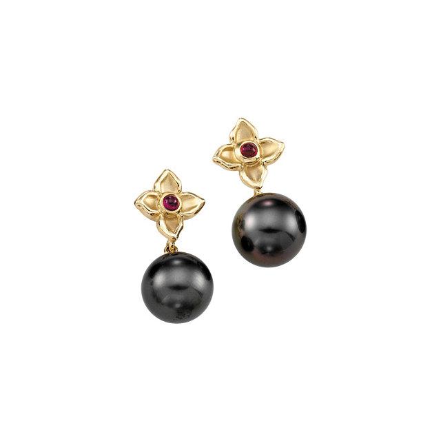 14k.co Yellow Gold Tahitian Cultured Pearl & Genuine Ruby Flower Polished Earrings