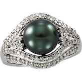 Tahitian Cultured Pearl & Diamond Ring