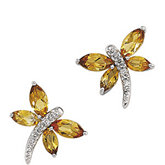 Genuine Citrine & Diamond Dragonfly Earrings