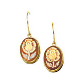 Genuine Carnelian Shell Cameo Flower Earrings