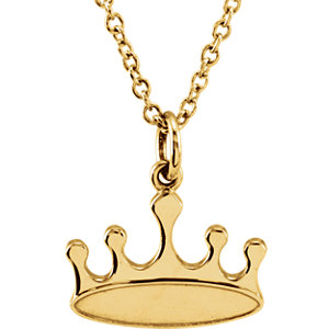"14K Yellow Tiny Posh Crown 16-18"" Necklace"